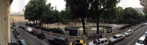A panoramic photo of the view outside our hotel room window. There was a nice park down below!
