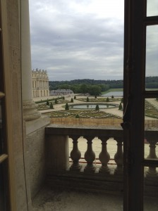 A view of the gardens from a bedroom at Versailles.