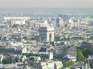 The Arc de Triomphe, as seen from the first observation point of the Eiffel Tower.