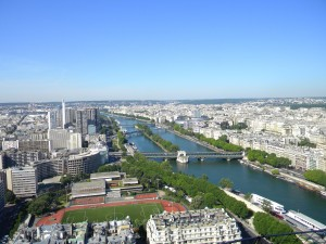 The Seine and another view of Paris from the first observation point of the Eiffel Tower.