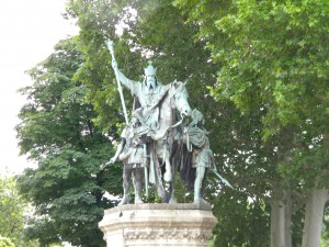 A statue of Charlemagne outside the west entrance to the Cathedral of Notre Dame