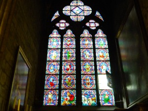 Some of the stained glass in the Cathedral of Notre Dame.