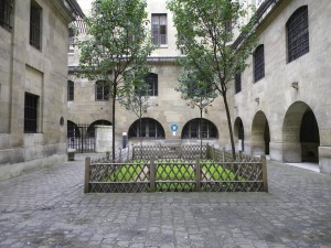The Women's Courtyard at the Conciergerie. Here, women could socialize, eat, wash clothing — but it was also the point from which they departed on a cart for the guillotine when their time came.