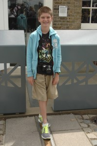 Thing 1 in a more traditional photo at the Prime Meridian.