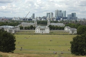 The Queen's House and the park in Greenwich, as seen from the Royal Observatory. One can see London in the background.