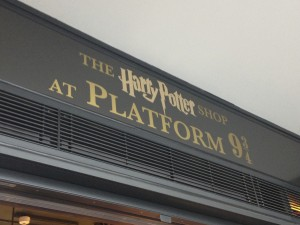 The Harry Potter Store signage at Kings Cross Station, London.