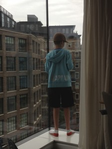 Thing 1 checking out the view from our hotel in Westminster. To his left is Burberry headquarters, and he is facing the direction of Westminster Palace (home of Parliament).