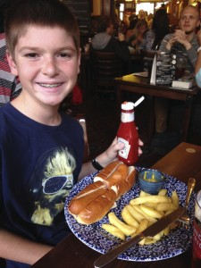 """Thing 1's """"classic"""" hot dog, which was really a large sausage calling itself a hot dog."""