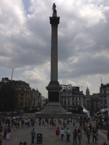 Nelson's Column in Trafalgar Square, dedicated to Admiral Lord Horatio Nelson, the victor of the Battle of Trafalgar, fought against the French (and Spanish) during the Napoleonic Wars. It was a victory for the English, but Nelson was shot and died shortly after the win.