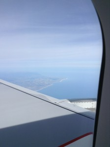 The English coastline from our plane window