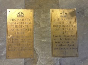 Markers noting the location of King George VI's casket as it lay in state after his death, and the casket of his queen, Elizabeth, several decades later. (She was the current Queen Elizabeth's mother.)
