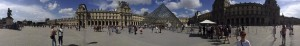 A panorama of the plaza outside the Louvre complex . . . it is HUGE.
