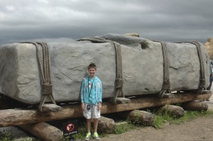 This is a replica megalith in the visitor center courtyard with Thing 1 standing in front for reference.